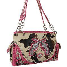 Cow Print with Pistol Bling Western Shoulder Bag-Pink