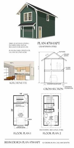 Garage Plans: Craftsman Style One Car Two Story Garage With Apartment - Plan 714-1apt.4 - (4) Copies Of Plans