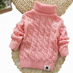 Buy New Autumn Winter Sueter Infantil for Baby Boy Girls Sweater Coats Warm Cute Kids Pullover Sweaters New Soft Turtleneck Coat at Wish - Shopping Made Fun Toddler Sweater, Baby Girl Sweaters, Boys Sweaters, Winter Sweaters, Sweater Coats, Pullover Sweaters, Kids Knitting Patterns, Knitting For Kids, Pull Bebe