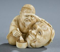 A Japanese Ivory Netsuke of Noh Mask- Painter at work. 19th century. http://www.invaluable.com/catalog/searchLots.cfm?scp=u