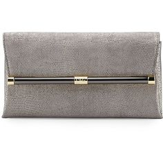 Diane von Furstenberg Envelope Stardust Leather Clutch Bag ($248) ❤ liked on Polyvore featuring bags, handbags, clutches, granite, metallic handbags, leather hand bags, special occasion clutches, leather handbags and leather flap handbag