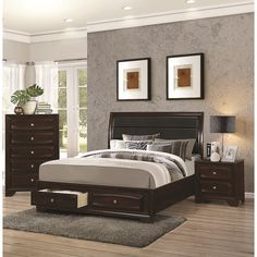 Jackson 3 Piece Bedroom Collection ($1,269) ❤ liked on Polyvore featuring home, furniture, black, cal king bedroom sets, black furniture, dovetail furniture, california king bed furniture and oversized furniture