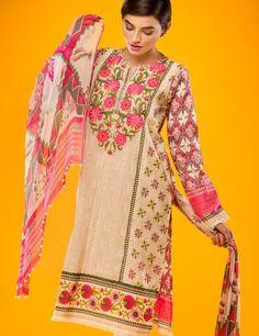 Khaadi Beige Pakistani Cotton Lawn Suit With Chiffon  Dupatta E15514A