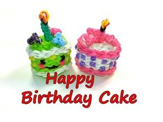 Happy Birthday Cake Tutorial by feelinspiffy (Rainbow Loom) Rainbow Loom Tutorials, Rainbow Loom Patterns, Rainbow Loom Creations, Rainbow Loom Bands, Rainbow Loom Charms, Rainbow Loom Bracelets, Rubber Band Crafts, Rubber Bands, Loom Band Charms