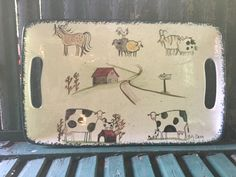 Serving Tray - Handled platter with animals on border, barn in middle - Molly Dallas by MollyDallasCo on Etsy