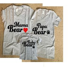 3 Mama, Papa and Baby Bear Shirts - Multiple Colors Available