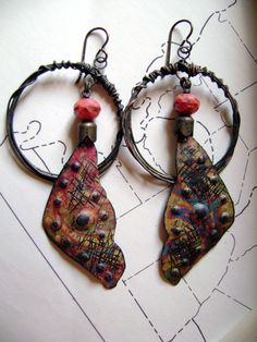 Saturday Afternoon at the Park recycled tin earrings by Anvil Artifacts