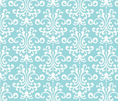 I think I want to cover the front of my dresser drawers with this or something like it: (damask lg teal and white fabric by misstiina on Spoonflower - custom fabric)