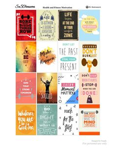 Free Motivational health and fitness planner stickers