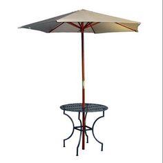 iron round patio table w 3 in umbrella hole in black