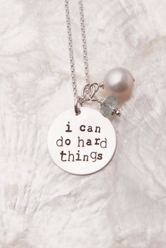 I Can Do Hard Things Necklace, Handstamped Sterling Silver Jewelry, Inspirational Necklace, Affirmation Necklace, Mantra Necklace. $45.00, via Etsy.