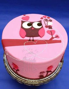 Owl love Cake by Tortentante Pink Hoot Owl Cake Owl Cake — Children's Birthday Cakes party Girl Boys Kid Kids Owl Cake Birthday, Birthday Desserts, 13th Birthday, Bolo Artificial, Owl Cakes, Ladybug Cakes, Decoration Patisserie, Animal Cakes, Valentine Cake