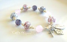 Hand-Blown Glass Pink & Purple Rosary Bracelet.