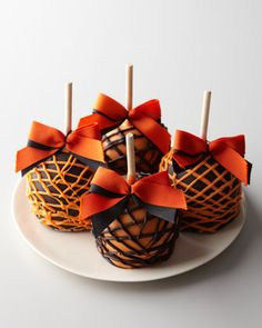 Four Halloween Caramel Apples by Mrs. Prindable\'s at Horchow.