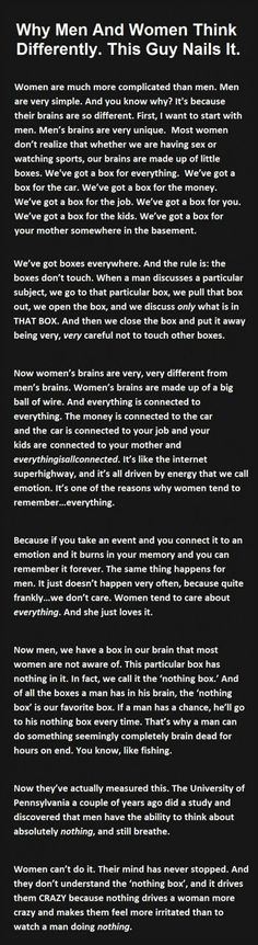 Why men and women think differently...