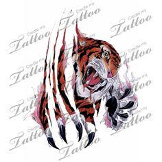 Tiger tearing through skin tattoo design Tiger Claw Tattoo, Tiger Tattoo Design, Cat Tattoo Designs, I Tattoo, Cool Tattoos, Tatoos, Skin Tear Tattoo, Create My Tattoo, Custom Tattoo