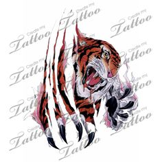 Tiger tearing through skin tattoo design Tiger Claw Tattoo, Tiger Tattoo Design, Cat Tattoo Designs, I Tattoo, Cool Tattoos, Tatoos, Skin Tear Tattoo, Create My Tattoo, Garra