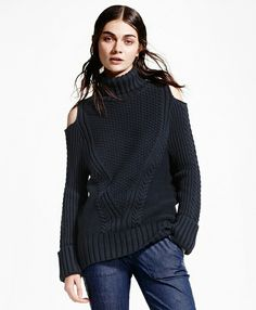 The chic turtleneck sweater made from comfy Italian cotton-blend yarns features an allover novelty cable knit, cutout shoulders and a semi-slouchy fit. Sweater Making, The Chic, Brooks Brothers, Cable Knit, Autumn Winter Fashion, Knitwear, Cold Shoulder, Sweaters For Women, Turtle Neck