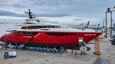 The latest model from Mondomarine, a 49.2 metre all-aluminium yacht with a red hull, has been launched in Savona and named Ipanema
