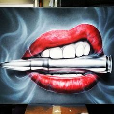 Image result for Tattoo of lips with gold bullet and smoke coming out the mouth