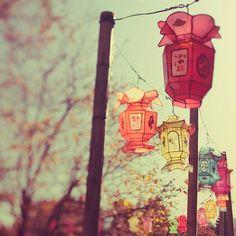 rainbow lanterns.