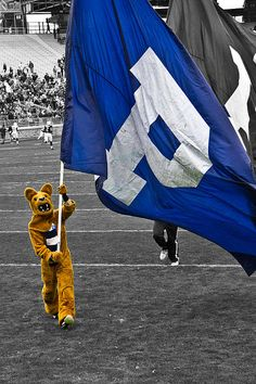 Penn State Nittany Lion with Flag  by Gallery Three Photography. Prints, Canvasses, Metal prints for sale, Just click the picture for a direct link