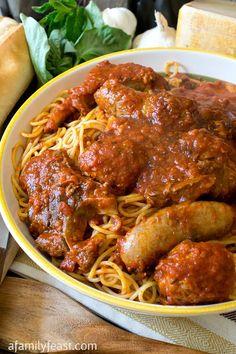 Sunday Gravy - A Family Feast® Sauce Recipes, Beef Recipes, Cooking Recipes, Budget Cooking, Easy Cooking, Italian Pasta, Italian Dishes, Italian Foods, Sunday Recipes