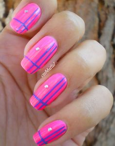 Pink and Blue Striped Nails