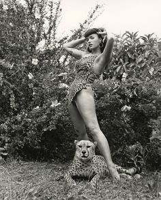 Bettie Page in Leopard-Skin Suit with Cheetah, 1954 Bunny Yeager
