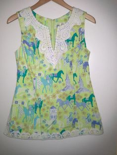 "Lilly Pulitzer ""Low Rider"" Shirt- 100 Cotton Green White Embroidered Top Blouse 4 s Derby Horse 