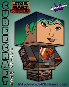 Star Wars Rebels Sabine Wren 3D Cubeecraft by SKGaleana