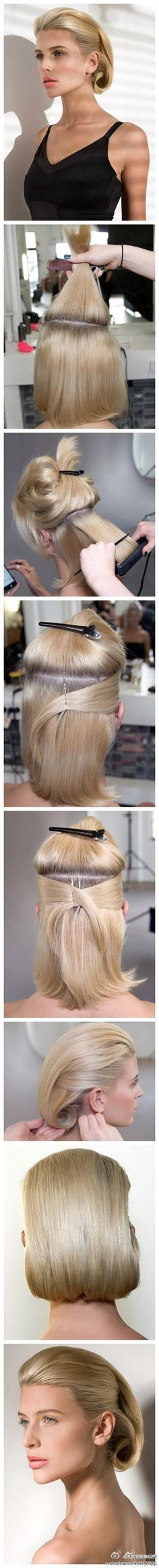 Super Sleek Hairstyle. Straight back with side detail and tucked under. Great for those with shorter hair. Glam it up with a statement piece like a rhinestone or pearl comb!