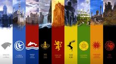LAS 9 CASAS PRINCIPALES DE PONIENTE: Stark, Arryn, Tully, Greyjoy, Lannister, Baratheon, Tyrell, Martell,  Targaryen.
