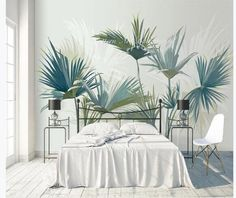 Palm Tree Pattern Removable Wallpaper Self Adhesive Wallpaper Extra Large Peel & Stick Wallp Palm Wallpaper, Home Wallpaper, Custom Wallpaper, Peel And Stick Wallpaper, Leaves Wallpaper, Adhesive Wallpaper, Open Wall, Cleaning Walls, Smooth Walls