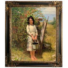 "Astoria Grand 'Blackberry Picking 1875' Framed Oil Painting Print on Canvas Size: 29.25"" H x 25.25"" W, Format: Gold/Black Frame"