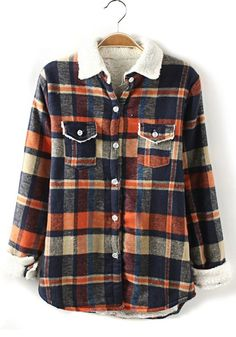 Orange Plaid Print Loose Thick Spandex Cashmere Blouse- looks so warm and cozy, perfect for fall