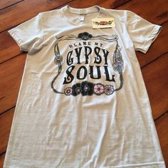 Boho Circus Gypsy Shirt Size M NWT Grey Gypsy Shirt....says size M but could better fit a small i think! Boho Gypsy Sisters Tops Tees - Short Sleeve