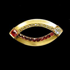 A FABERGÉ RUBY AND DIAMOND SET BROOCH IN YELLOW GOLD - Bentley & Skinner