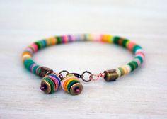 rope bracelet with handmade copper textile beads by jimenasjewelry, $21.00