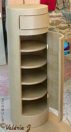 Buffet cylindre en carton-este diseño me gusta para un rinconcito que tengo en mi cuarto de costura, bueno, digamos , la idea.