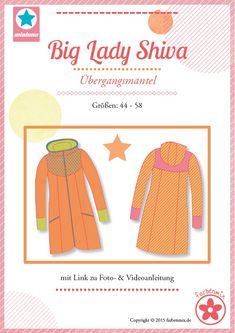 Mehrgrößenschnittmuster, Größen: 44, 46, 48, 50, 52, 54, 56, 58  Alle Größen sind auf dem Schnittmusterbogen abgebildet.  Big Lady Shiva ist ein mittellanger Mantel, der für den Übergang konzipiert ist.  Er wird gefüttert genäht undhält...