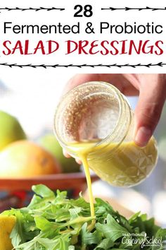 Know the feeling? You get attached to a certain bottled or restaurant dressing; then you find out it's full of junk. I can help! In this round-up of 28 fermented and probiotic-filled salad dressings, you're sure to find at least one that's just right! Creamy Salad Dressing, Salad Dressing Recipes, Salad Recipes, Healthy Recipes, Salad Dressing Bottle, Kefir Recipes, Drink Recipes, Fermented Sauerkraut, Fermented Foods