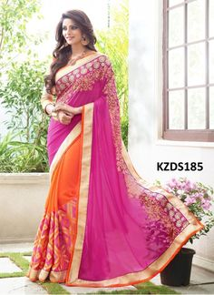 Buy Georgette Light Purple & Orange Designer Saree
