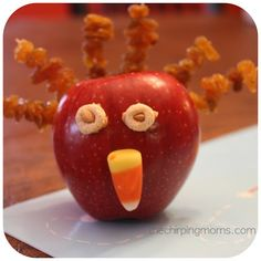 Thanksgiving turkey craft project for kids Also makes a healthy snack