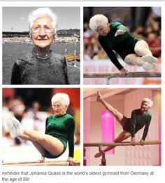 Johanna Quaas is the world's oldest gymnast from Germany at the age of 86!  Everybody else go home-she automatically wins