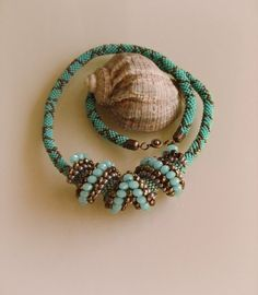 Beaded Teal Necklace Cellini Spiral Rope Necklace by FemenineBijou