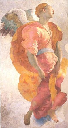 Jacopo Pontormo (1494 - 1557) Annunciation (detail) 1527 - 1528Cappella Capponi, Santa Felicità, Florence, Italy. Fresco