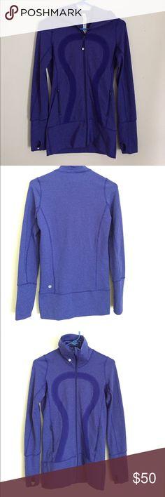 Lululemon purple striped zip-up sweater Excellent condition, barely used. lululemon athletica Tops Sweatshirts & Hoodies