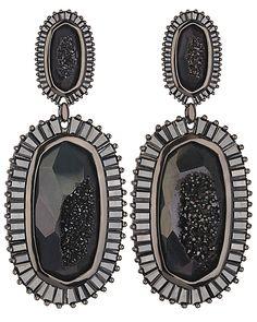 Kaki Baguette Earrings in Black Drusy - Kendra Scott Jewelry. Coming October 15!