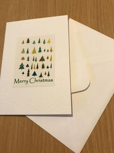 Christmas Trees Handmade Watercolour Cards a set of five | Etsy